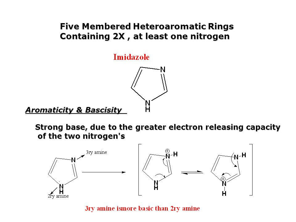 Five Membered Heteroaromatic Rings Containing 2X, at least one nitrogen Aromaticity & Bascisity Strong base, due to the greater electron releasing cap