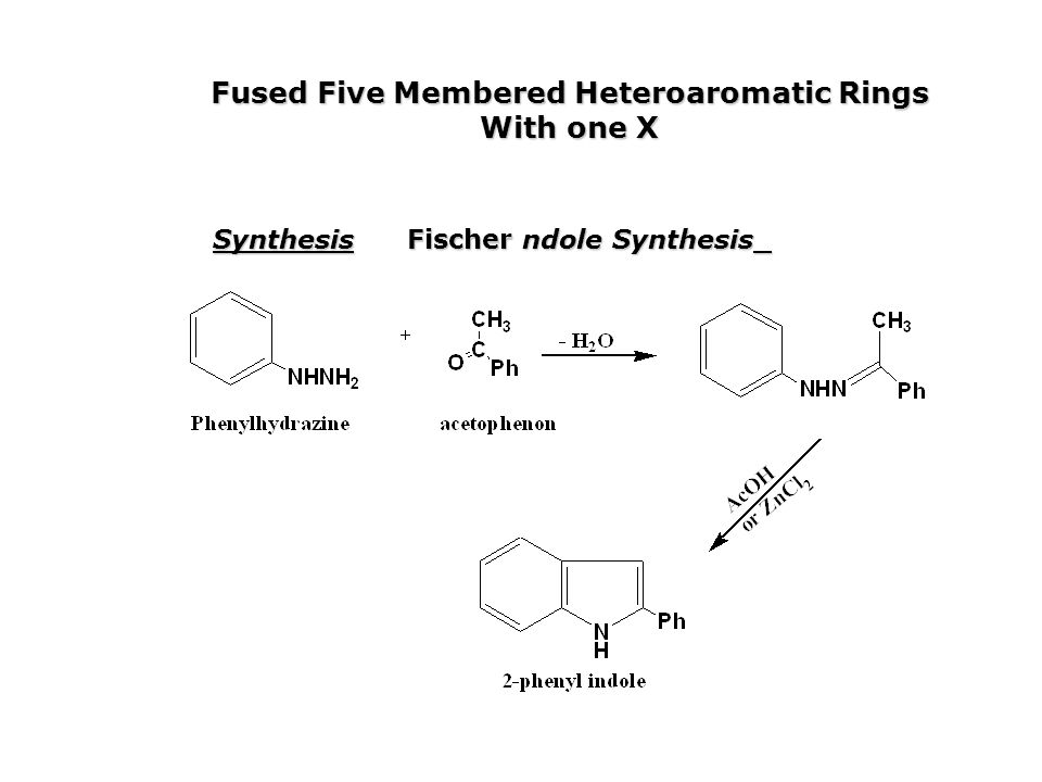 Fused Five Membered Heteroaromatic Rings With one X Synthesis Fischer ndole Synthesis