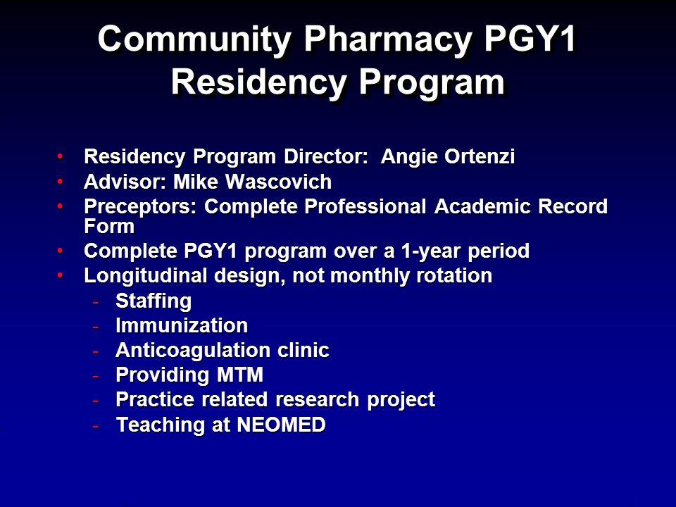 Community Pharmacy PGY1 Residency Program Residency Program Director: Angie OrtenziResidency Program Director: Angie Ortenzi Advisor: Mike WascovichAd