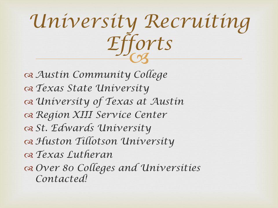 Austin Community College Texas State University University of Texas at Austin Region XIII Service Center St. Edwards University Huston Tillotson Unive