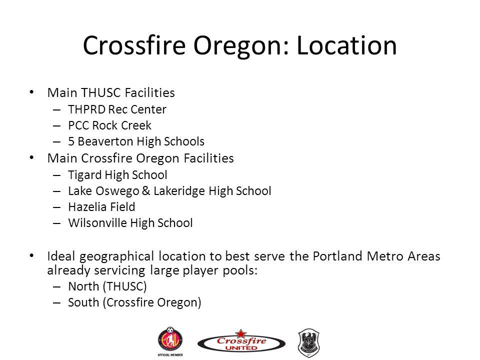 Crossfire Oregon: Location Main THUSC Facilities – THPRD Rec Center – PCC Rock Creek – 5 Beaverton High Schools Main Crossfire Oregon Facilities – Tig