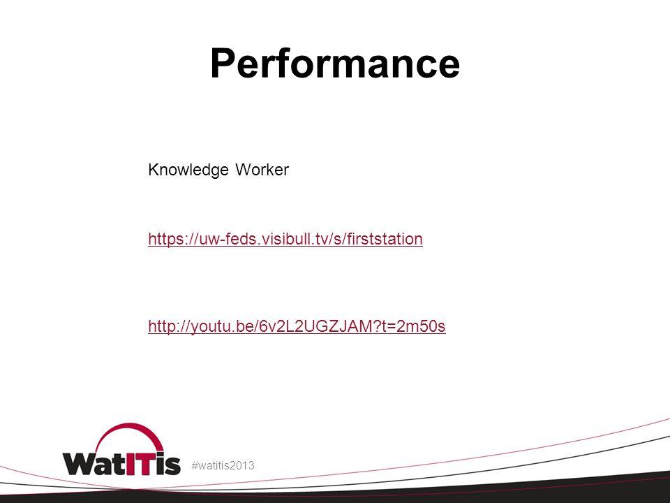 Performance #watitis2013 http://youtu.be/6v2L2UGZJAM?t=2m50s https://uw-feds.visibull.tv/s/firststation Knowledge Worker