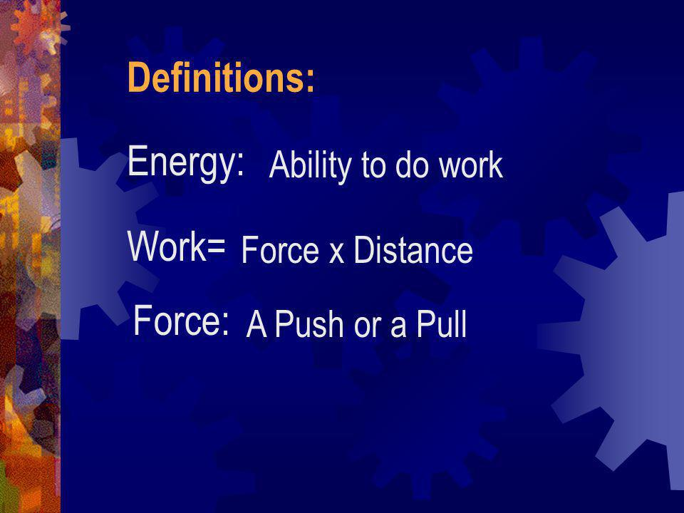 Simple Machines In a simple machine, input work is done by a person applying a single force, and the machine does output work also by means of a singl