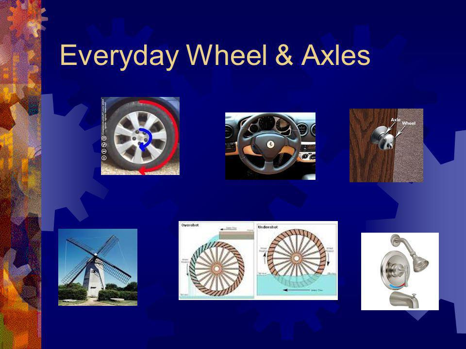 Wheel & Axel A simple machine consisting of an axle that is attached to a wheel. The torque (force) that is applied to the wheel is increased in the a