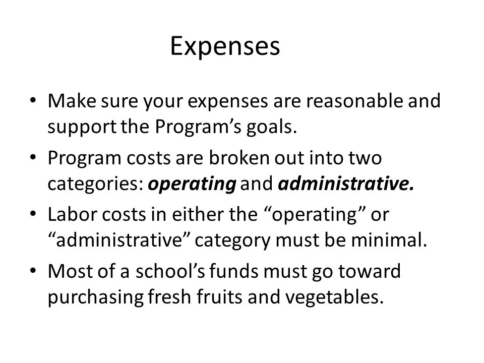 Expenses Make sure your expenses are reasonable and support the Programs goals. Program costs are broken out into two categories: operating and admini