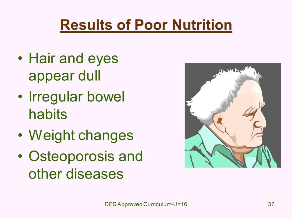 DFS Approved Curriculum-Unit 637 Results of Poor Nutrition Hair and eyes appear dull Irregular bowel habits Weight changes Osteoporosis and other dise