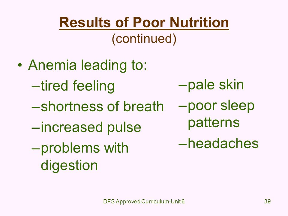 DFS Approved Curriculum-Unit 639 Results of Poor Nutrition (continued) Anemia leading to: –tired feeling –shortness of breath –increased pulse –proble