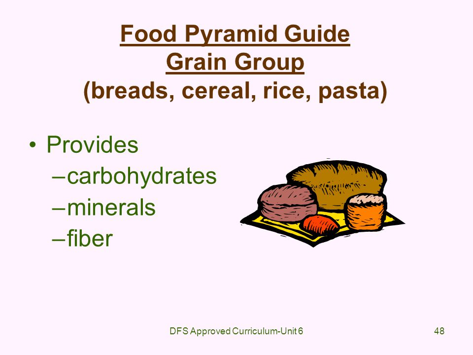 DFS Approved Curriculum-Unit 648 Food Pyramid Guide Grain Group (breads, cereal, rice, pasta) Provides –carbohydrates –minerals –fiber