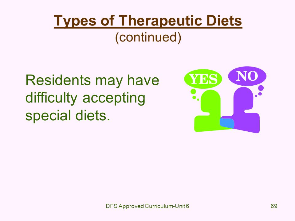 DFS Approved Curriculum-Unit 669 Types of Therapeutic Diets (continued) Residents may have difficulty accepting special diets.