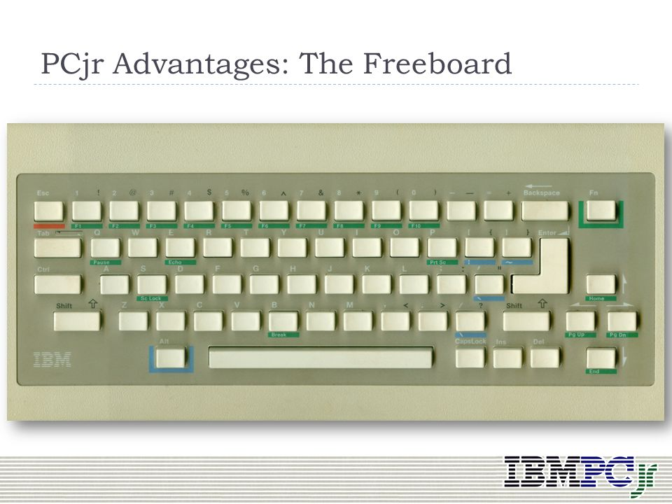 Compatibility CPU, BIOS calls, OS same as IBM PC If it fit into PCjrs memory, it (usually) ran Keyboard Wireless! IBM called it the Freeboard Larger s