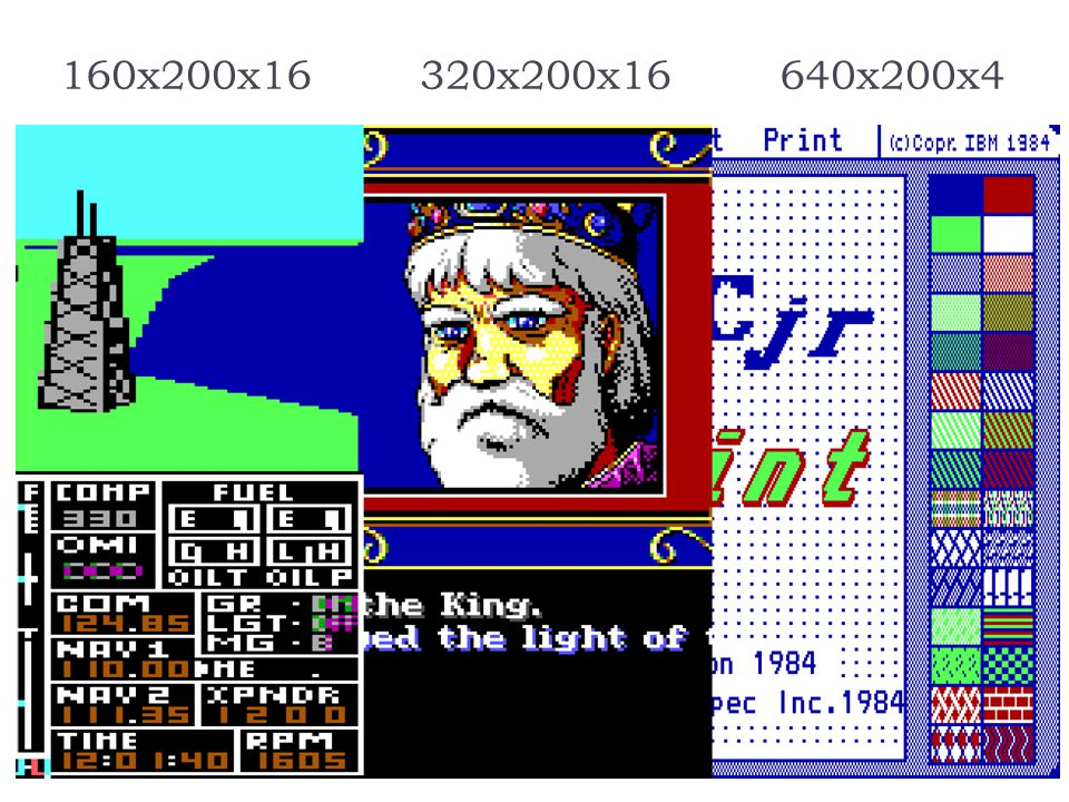 PCjr Advantages: Graphics Added three new graphics modes over CGA 160x200x16 320x200x16 640x200x4 16 colors same as text colors Graphics comparable to
