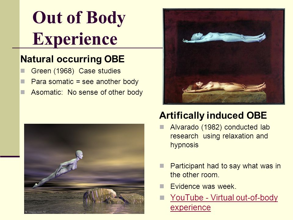 Out of Body Experience Natural occurring OBE Green (1968) Case studies Para somatic = see another body Asomatic: No sense of other body Artifically in