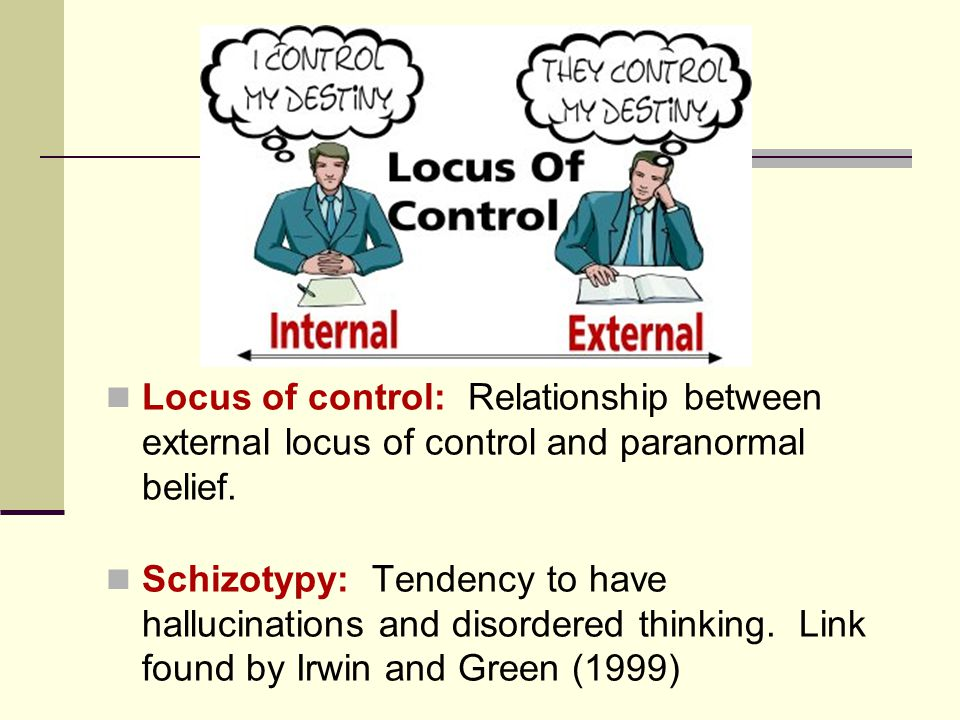 Locus of control: Relationship between external locus of control and paranormal belief. Schizotypy: Tendency to have hallucinations and disordered thi