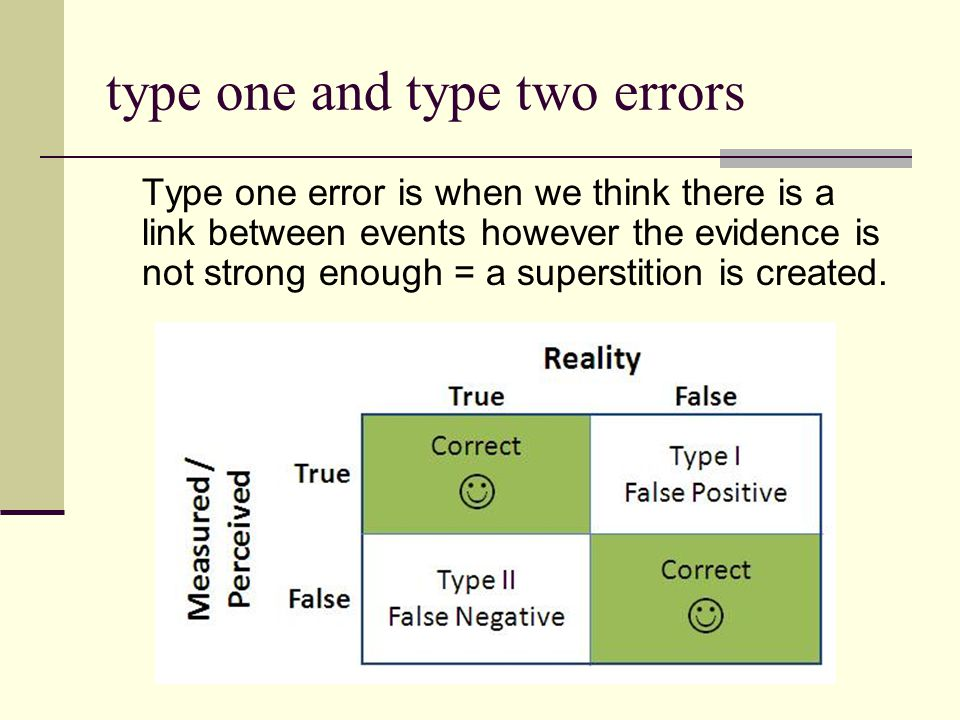 type one and type two errors Type one error is when we think there is a link between events however the evidence is not strong enough = a superstition
