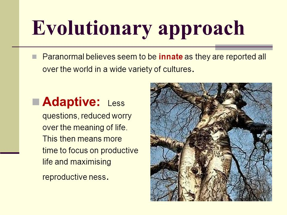 Evolutionary approach Paranormal believes seem to be innate as they are reported all over the world in a wide variety of cultures. Adaptive: Less ques
