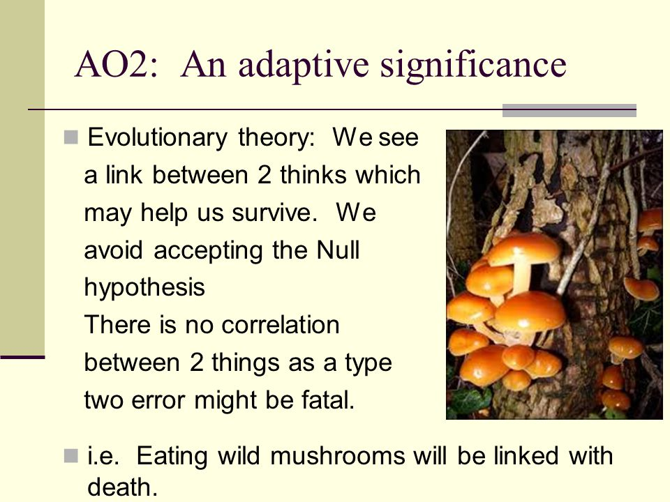 AO2: An adaptive significance Evolutionary theory: We see a link between 2 thinks which may help us survive. We avoid accepting the Null hypothesis Th