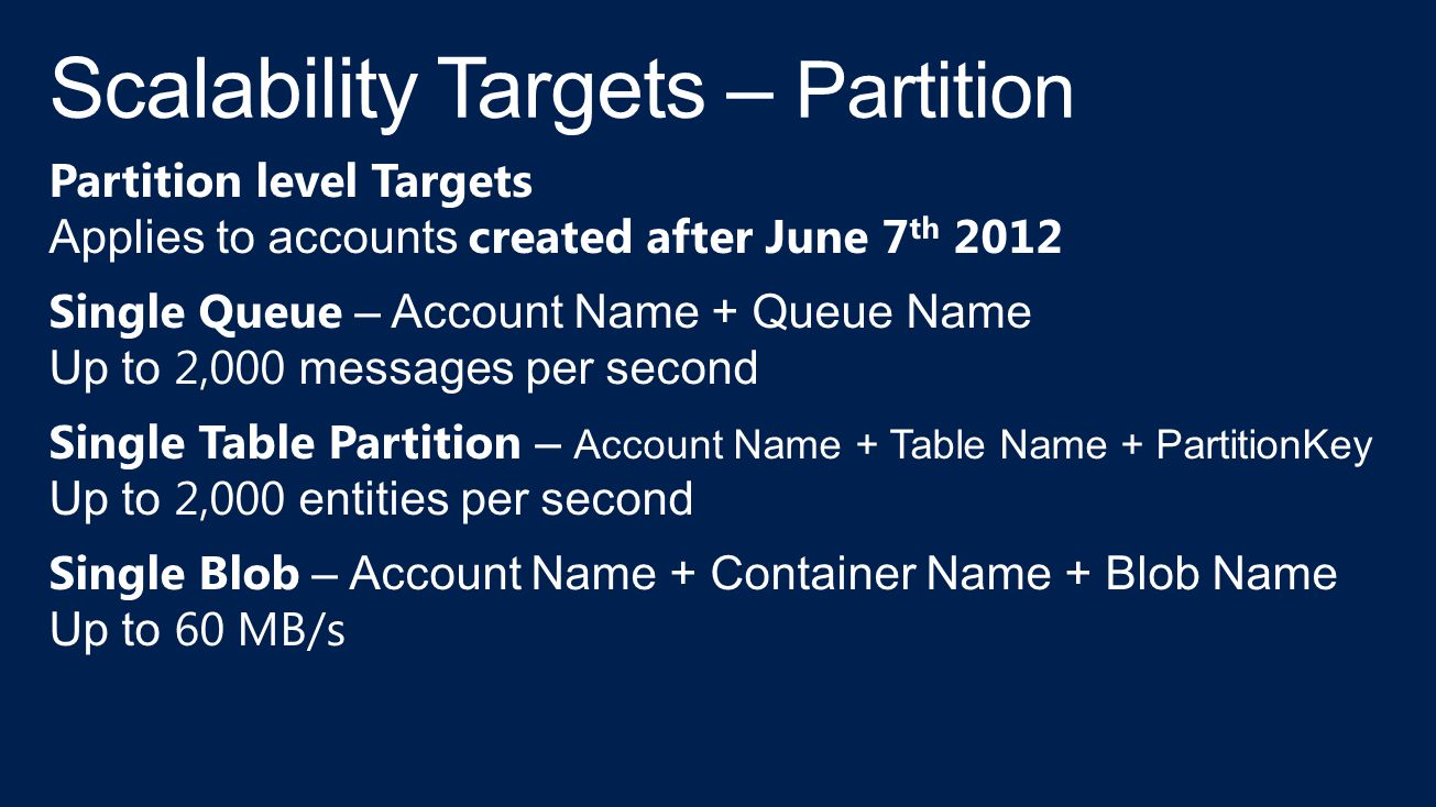 Scalability Targets – Partition
