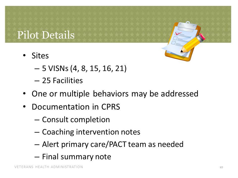 VETERANS HEALTH ADMINISTRATION Pilot Details Sites – 5 VISNs (4, 8, 15, 16, 21) – 25 Facilities One or multiple behaviors may be addressed Documentati