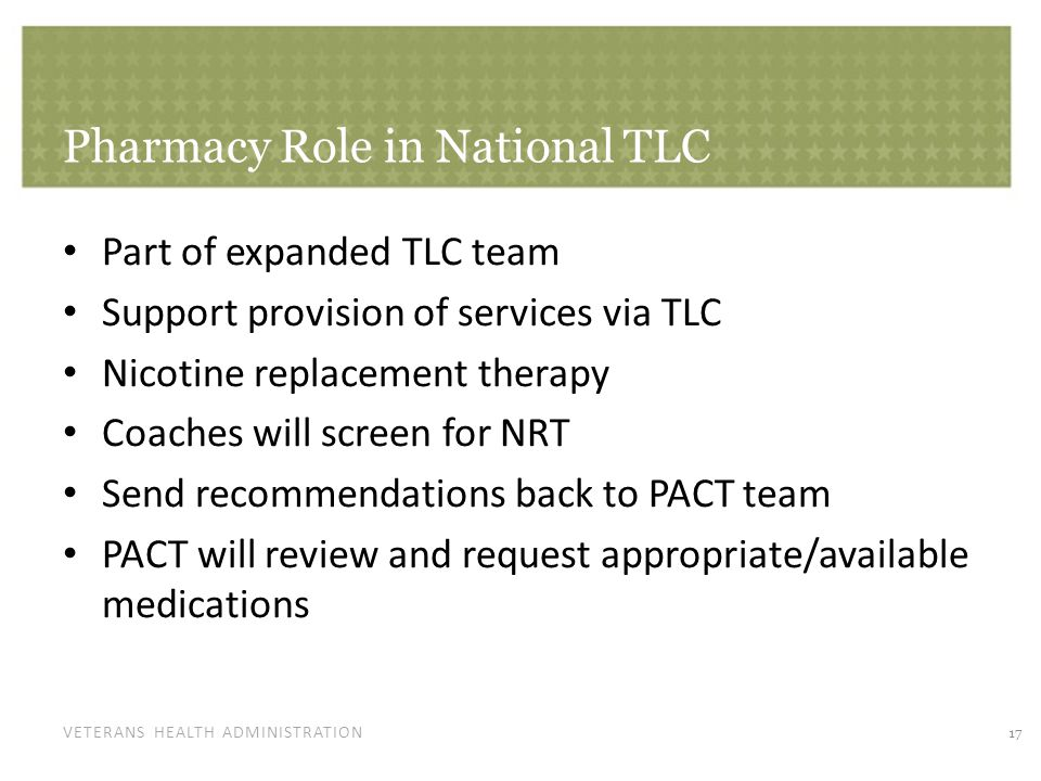 VETERANS HEALTH ADMINISTRATION Pharmacy Role in National TLC Part of expanded TLC team Support provision of services via TLC Nicotine replacement ther
