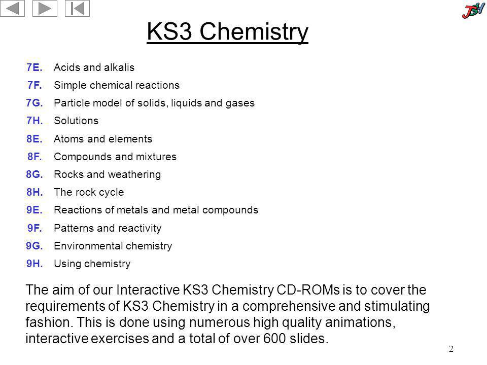 2 KS3 Chemistry 7E.Acids and alkalis 7F.Simple chemical reactions 7G.Particle model of solids, liquids and gases 7H.Solutions 8E.Atoms and elements 8F