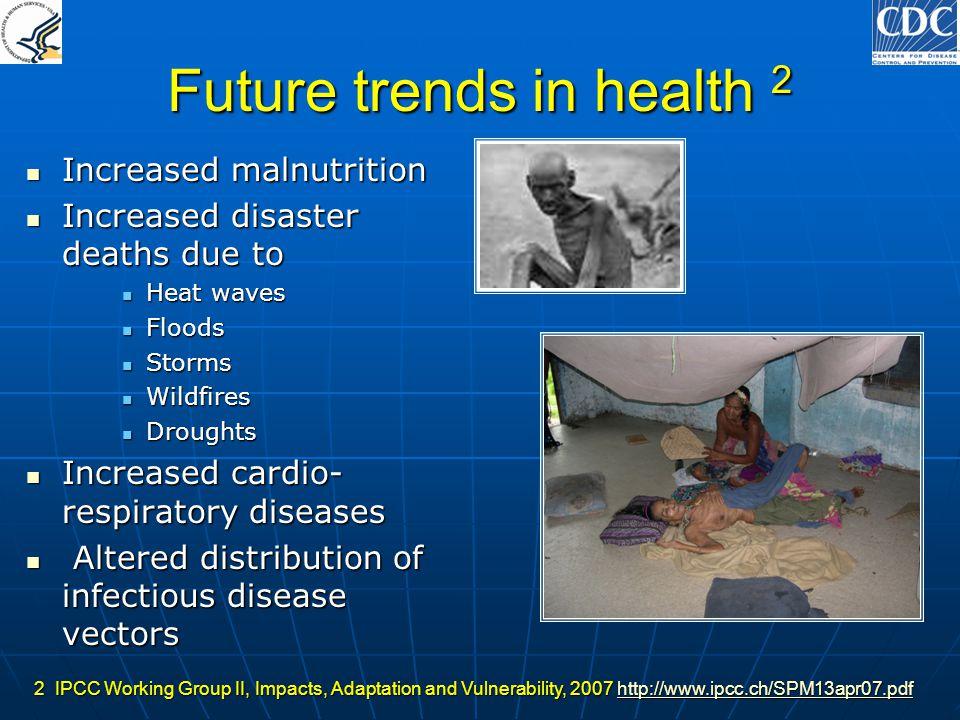 Future trends in health 2 Increased malnutrition Increased malnutrition Increased disaster deaths due to Increased disaster deaths due to Heat waves H
