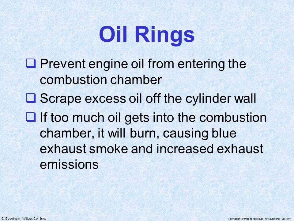 © Goodheart-Willcox Co., Inc. Permission granted to reproduce for educational use only Oil Rings Prevent engine oil from entering the combustion chamb