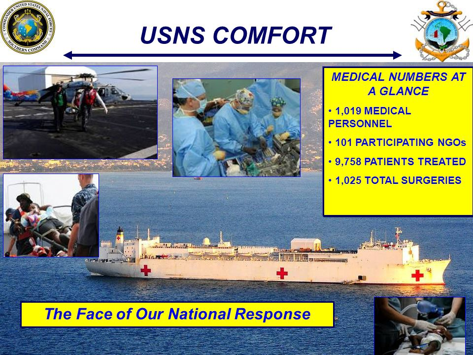 18 USNS COMFORT The Face of Our National Response MEDICAL NUMBERS AT A GLANCE 1,019 MEDICAL PERSONNEL 101 PARTICIPATING NGOs 9,758 PATIENTS TREATED 1,025 TOTAL SURGERIES