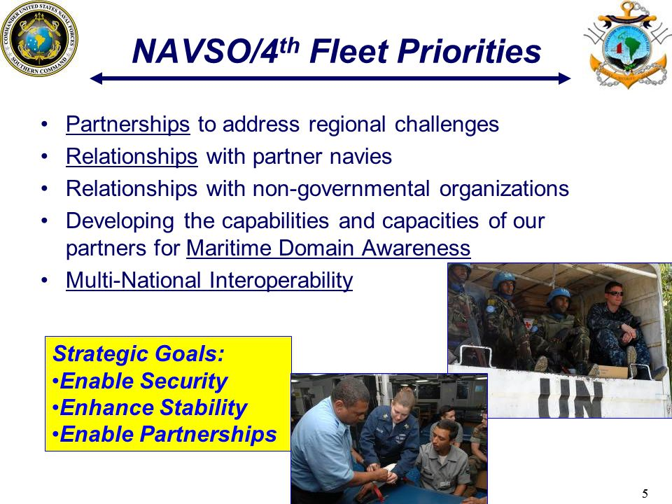 55 NAVSO/4 th Fleet Priorities Partnerships to address regional challenges Relationships with partner navies Relationships with non-governmental organizations Developing the capabilities and capacities of our partners for Maritime Domain Awareness Multi-National Interoperability Strategic Goals: Enable Security Enhance Stability Enable Partnerships