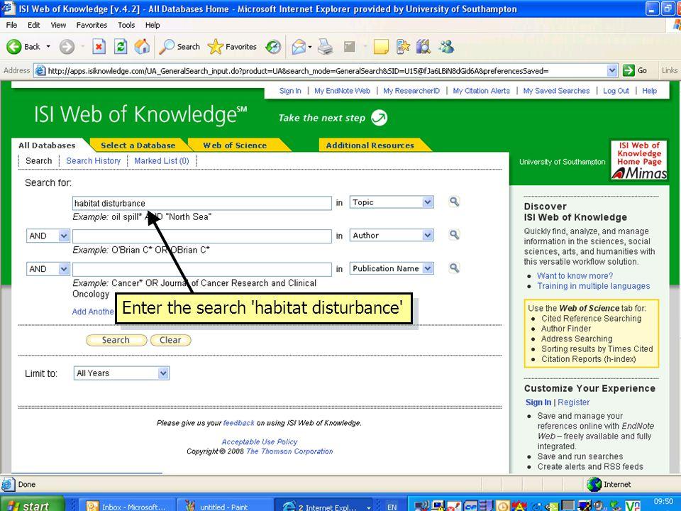 Enter the search habitat disturbance