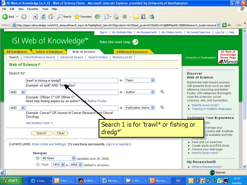 Search 1 is for 'trawl* or fishing or dredg*'