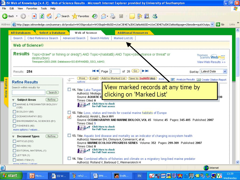 View marked records at any time by clicking on Marked List