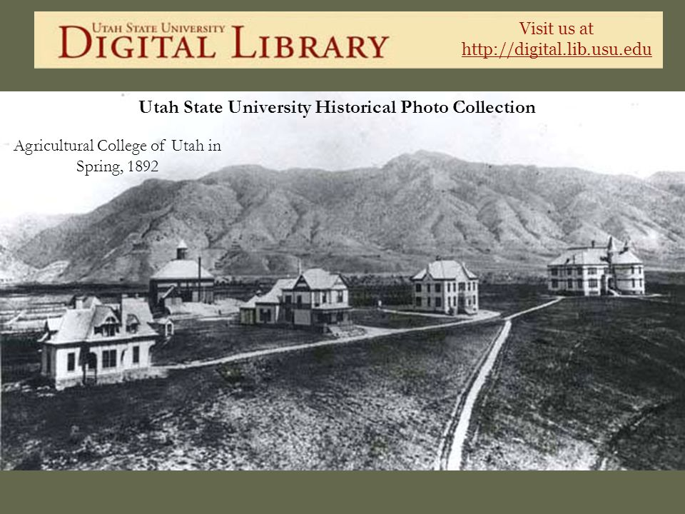 Visit us at http://digital.lib.usu.edu Utah State University Historical Photo Collection Agricultural College of Utah in Spring, 1892