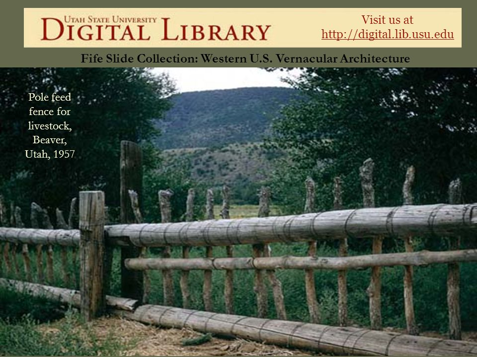 Visit us at http://digital.lib.usu.edu Fife Slide Collection: Western U.S. Vernacular Architecture Pole feed fence for livestock, Beaver, Utah, 1957