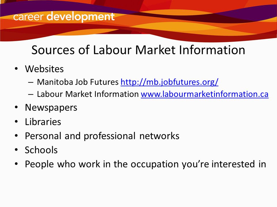Sources of Labour Market Information Websites – Manitoba Job Futures http://mb.jobfutures.org/http://mb.jobfutures.org/ – Labour Market Information ww