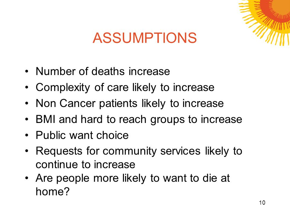 ASSUMPTIONS Number of deaths increase Complexity of care likely to increase Non Cancer patients likely to increase BMI and hard to reach groups to increase Public want choice Requests for community services likely to continue to increase Are people more likely to want to die at home.