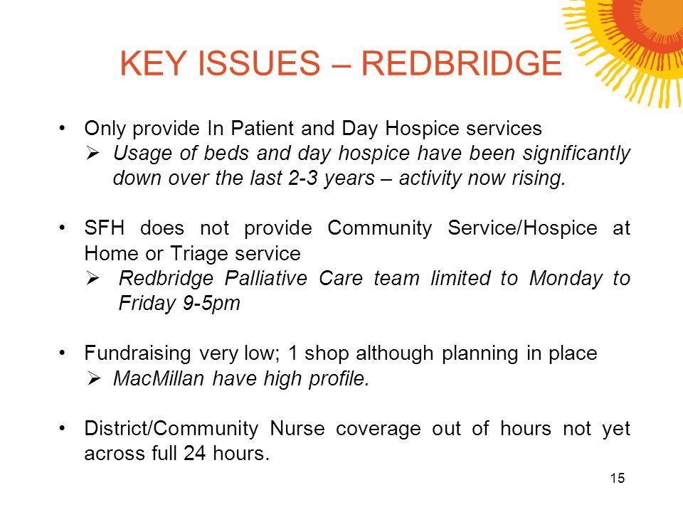 KEY ISSUES – REDBRIDGE Only provide In Patient and Day Hospice services Usage of beds and day hospice have been significantly down over the last 2-3 y