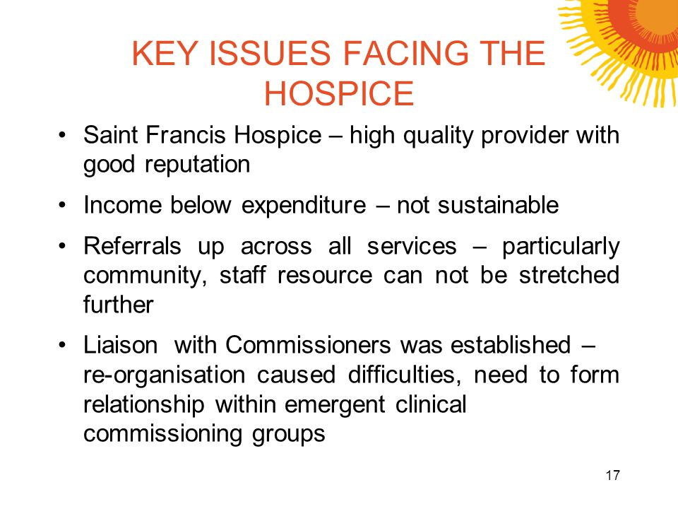 KEY ISSUES FACING THE HOSPICE Saint Francis Hospice – high quality provider with good reputation Income below expenditure – not sustainable Referrals up across all services – particularly community, staff resource can not be stretched further Liaison with Commissioners was established – re-organisation caused difficulties, need to form relationship within emergent clinical commissioning groups 17