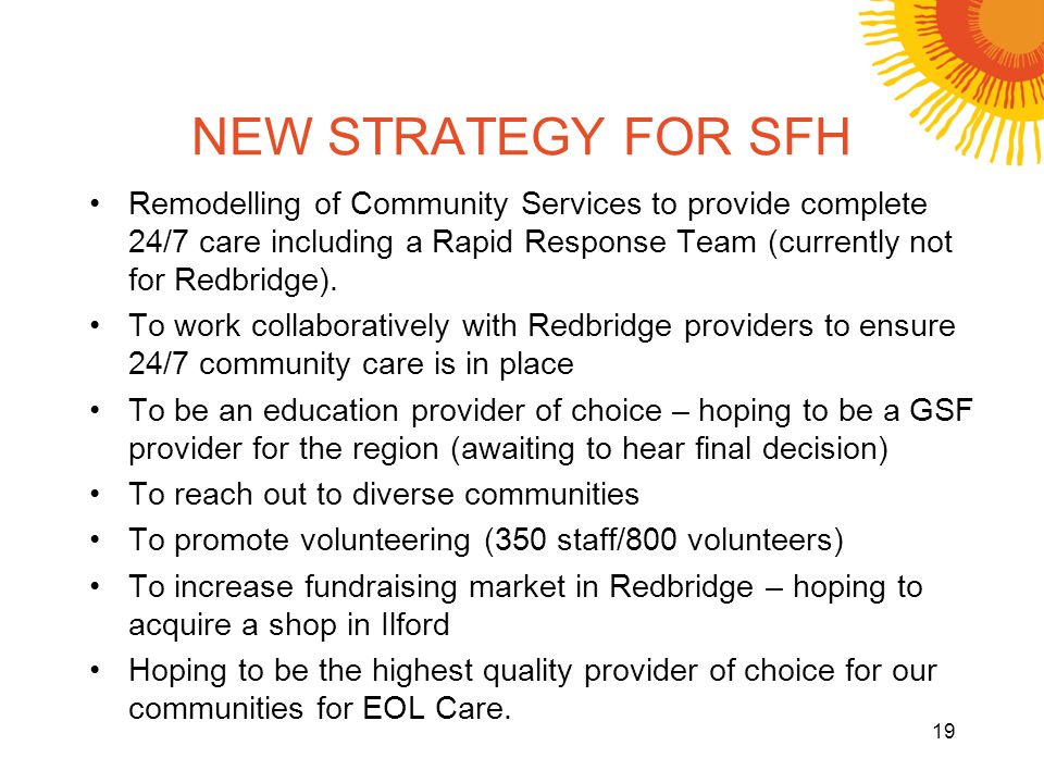 NEW STRATEGY FOR SFH Remodelling of Community Services to provide complete 24/7 care including a Rapid Response Team (currently not for Redbridge). To