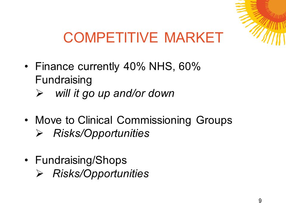 COMPETITIVE MARKET Finance currently 40% NHS, 60% Fundraising will it go up and/or down Move to Clinical Commissioning Groups Risks/Opportunities Fund