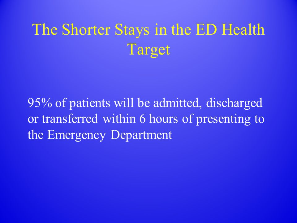 The Shorter Stays in the ED Health Target 95% of patients will be admitted, discharged or transferred within 6 hours of presenting to the Emergency Department