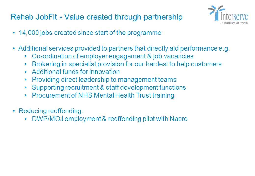 Rehab JobFit - Value created through partnership Strictly Private & Confidential 14,000 jobs created since start of the programme Additional services provided to partners that directly aid performance e.g.