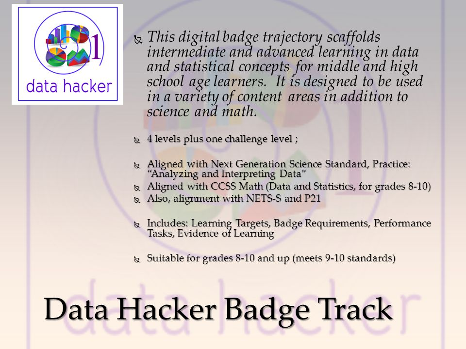This digital badge trajectory scaffolds intermediate and advanced learning in data and statistical concepts for middle and high school age learners.