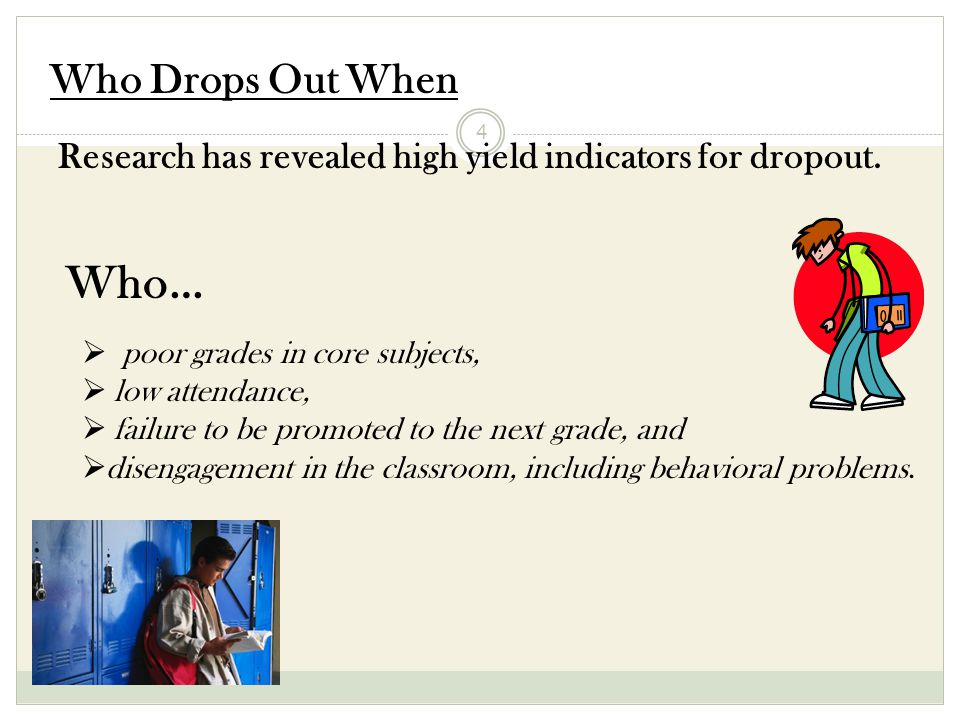 4 Who Drops Out When Research has revealed high yield indicators for dropout.