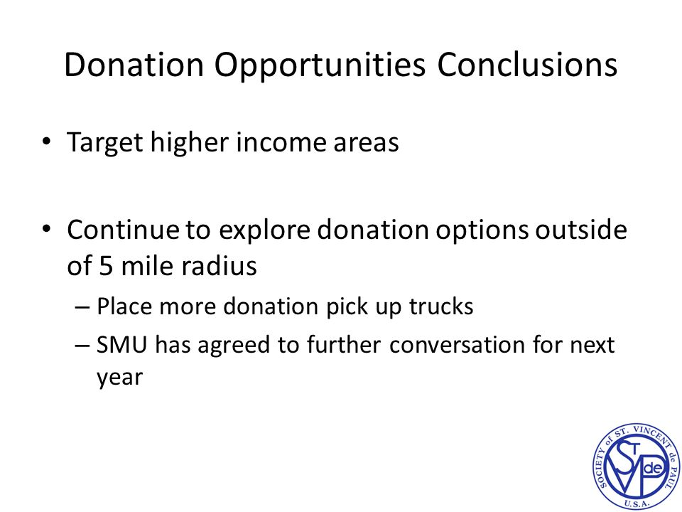 Donation Opportunities Conclusions Target higher income areas Continue to explore donation options outside of 5 mile radius – Place more donation pick up trucks – SMU has agreed to further conversation for next year