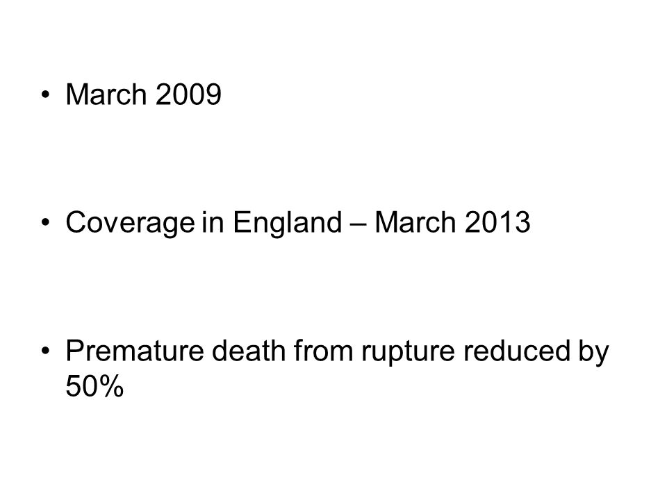 March 2009 Coverage in England – March 2013 Premature death from rupture reduced by 50%