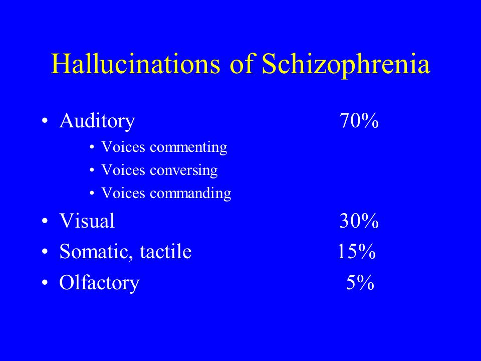Hallucinations of Schizophrenia Auditory 70% Voices commenting Voices conversing Voices commanding Visual 30% Somatic, tactile 15% Olfactory 5%
