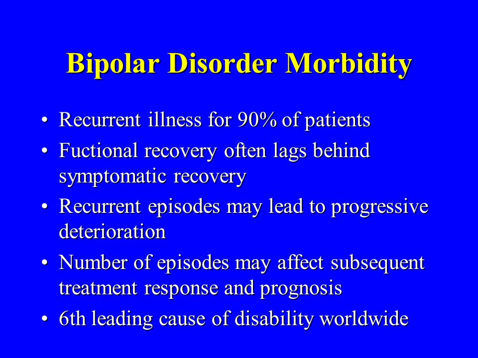 Bipolar Disorder Morbidity Recurrent illness for 90% of patientsRecurrent illness for 90% of patients Fuctional recovery often lags behind symptomatic