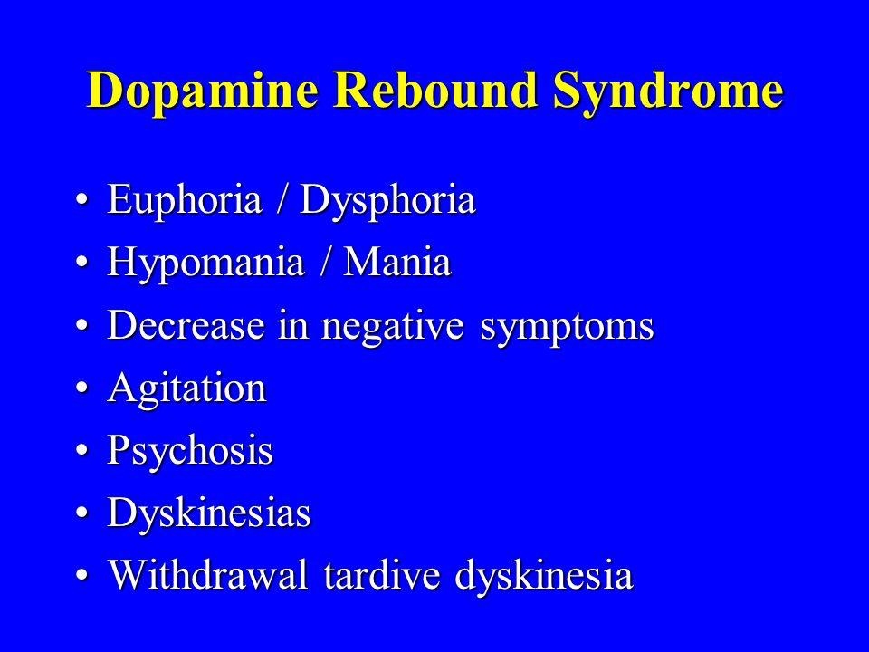 Dopamine Rebound Syndrome Euphoria / DysphoriaEuphoria / Dysphoria Hypomania / ManiaHypomania / Mania Decrease in negative symptomsDecrease in negative symptoms AgitationAgitation PsychosisPsychosis DyskinesiasDyskinesias Withdrawal tardive dyskinesiaWithdrawal tardive dyskinesia