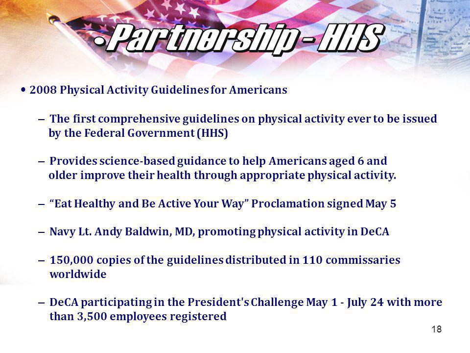 18 2008 Physical Activity Guidelines for Americans – The first comprehensive guidelines on physical activity ever to be issued by the Federal Governme