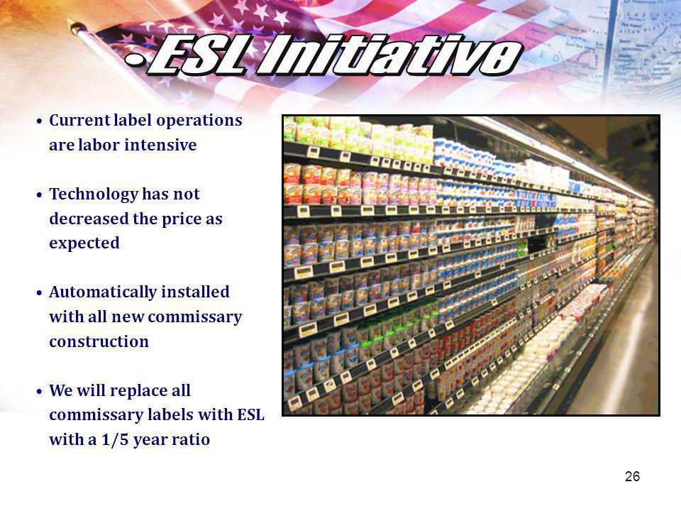 26 Current label operations are labor intensive Technology has not decreased the price as expected Automatically installed with all new commissary con